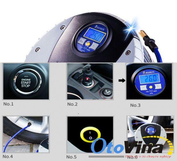 Máy bơm ô tô mini có tính năng tự ngắt khi đạt áp suất cài trước.