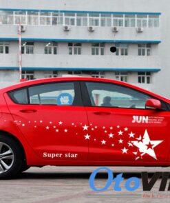 Tem decal ngôi sao dán sườn xe ô tô mẫu 02