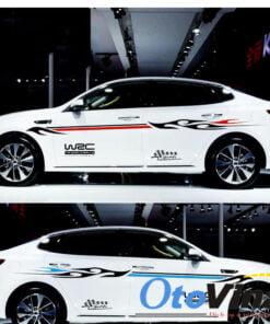 Bộ tem dán sườn xe ô tô WRC sport là sản phẩm trang trí xe ô tô