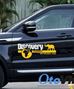 Decal tem chữ Discovery trang trí ô tô mẫu 08