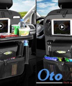 Túi treo sau ghế xe có bàn ăn và 4 cổng usb màu đen carbon