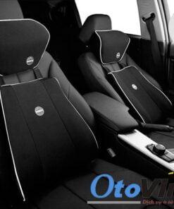 Bộ gối kê đầu và tựa lưng cao su non cho ô tô màu đen