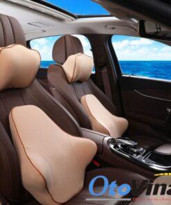 Gối đầu và tựa lưng cao su non cho ô tô màu kem sang trọng