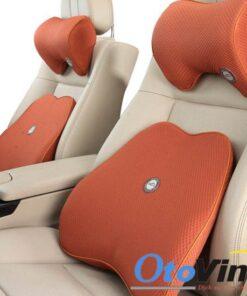 Bộ gối đầu tựa lưng ô tô cao su non mẫu 9 màu gạch