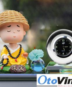 Bộ tượng tu sĩ và đồng hồ nước hoa để trang trí taplo xe ô tô | Phụ kiện trang trí xe ô tô 2020