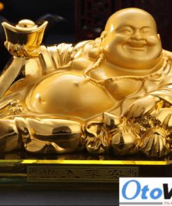 Tượng Phật Di Lặc mạ vàng 24k cao cấp để taplo xe ô tô