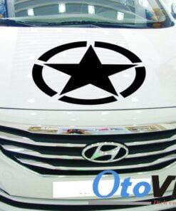Tem decal hình ngôi sao có vòng tròn dán xe ô tô với phong cách thể thao
