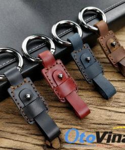 Móc treo chìa khóa ô tô da bò có nhiều màu sắc