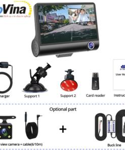 Camera hành trình Carcam B8/3 camera/Góc 170 độ/Màn hình LCD 4