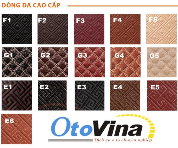 Bảng mẫu dòng da cao cấp, mẫu chỉ thêu và kiểu thêu của sản phẩm thảm lót sàn ô tô 6D