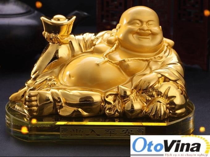 Phụ kiện phong thủy ô tô - Tượng Phật Di Lặc mạ vàng 24k cao cấp